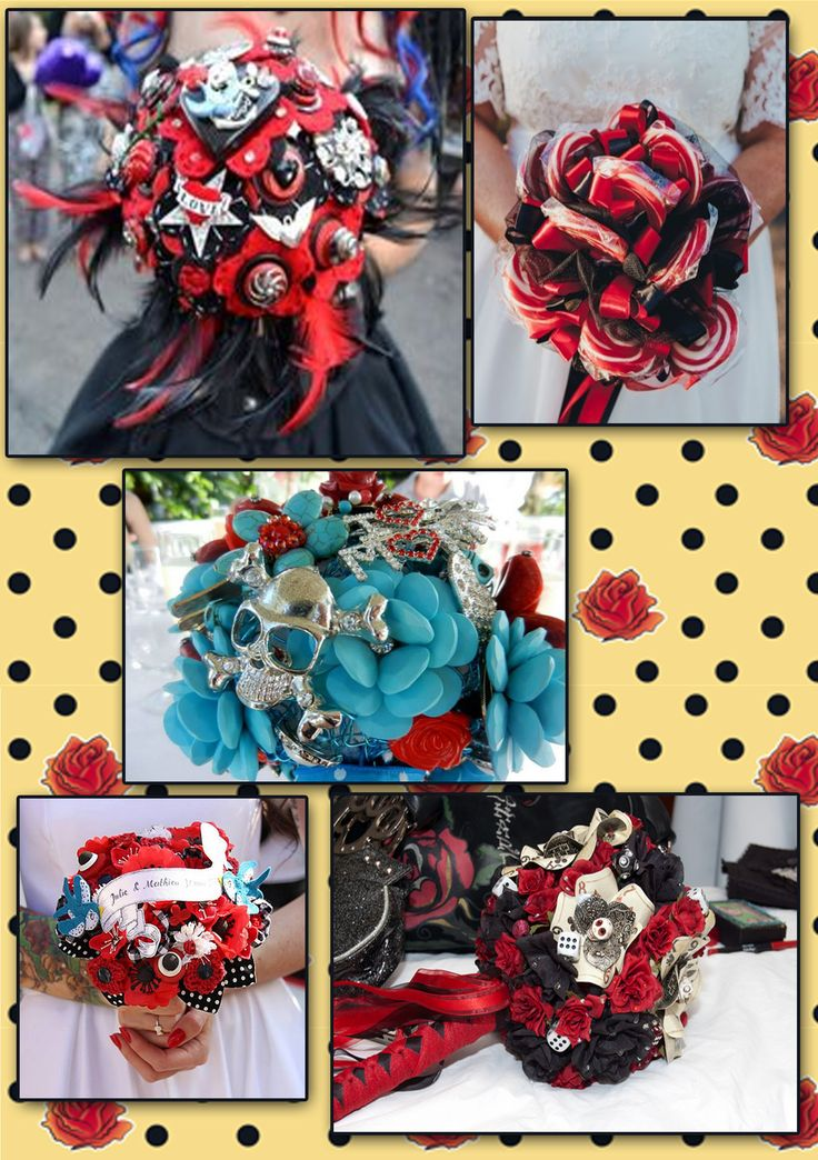 New wave of wedding bouquets: You don't need live flowers of your bouquet, you can take yours from buttons, silk flowers, jewels and many many more! Of course in rockabilly vintage style also! :) And this is yours forever.