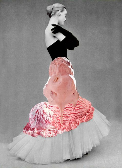 fashion, ice cream, collage, gown, vintage photography