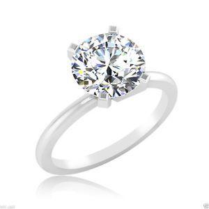 2.06Ct Round Cut D/VVS Diamond Solitaire Engagement Fine EDH 14K White Gold Ring