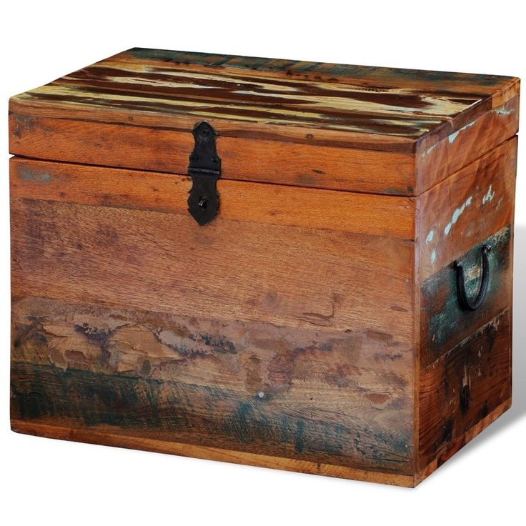 Rustic Storage Trunk Box Reclaimed Solid Wood Storage Furniture Vintage Style | eBay