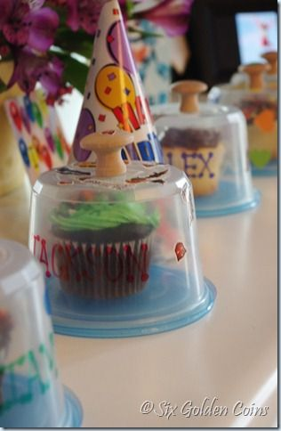 homemade single cupcake carrier- genius!  Also, read the blog for ideas to keep an at home birthday party simple but fun for the kids.