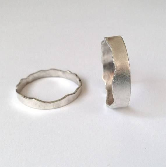 Silver Interlocking Rings - Two Mountain Range Rings- Coast Ring - Wedding Ring - Couples - Wide Band - Sterling - Unisex Men's - Recycl