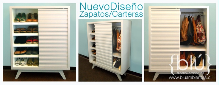 Organizador de zapatos y carteras  Repisas movibles, barra con argollas y puerta corredera