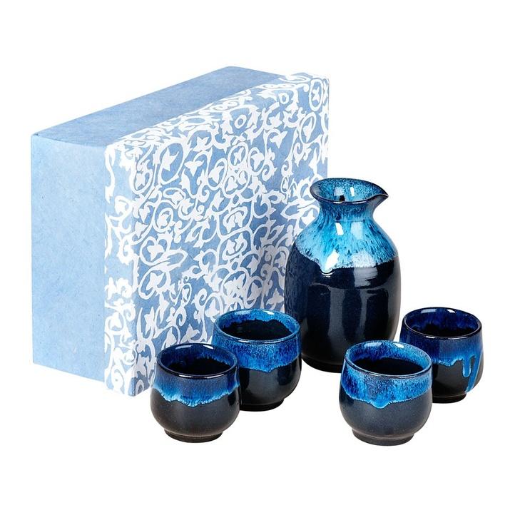 Evening blue sake set tenthousandvillages sake sets for Kitchen set in nepal