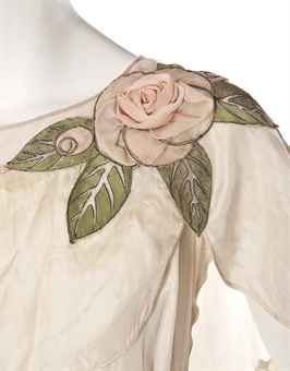 Detail of a Jeanne Lanvin Robe De Style, the leaves of this rose embroidered…
