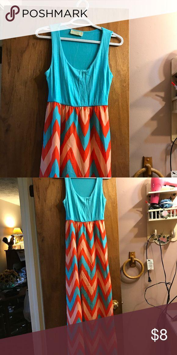 Long Chevron dress Long blue and orange chevron dress Dresses Maxi