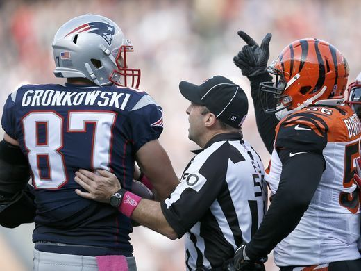 Bengals vs. Patriots:     October 16, 2016  -  35-17, Patriots  -     New England Patriots tight end Rob Gronkowski (87) and Cincinnati Bengals outside linebacker Vontaze Burfict (55) are separated by an official as they exchange words after a play in the fourth quarter of the NFL Week 6 game between the New England Patriots and the Cincinnati Bengals at Gillette Stadium in Foxboro, Mass., on Sunday, Oct. 16, 2016. The Bengals fell to 2-4 with a 35-17 loss in Tom Brady's...  MORE...