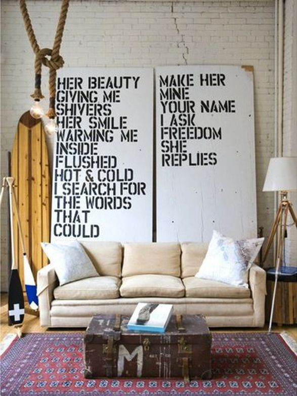 Living Room. Surf Board. Vintage. Wall Statement. Message. Text. White Couch. Wood Chest. Decor. Design. Home.