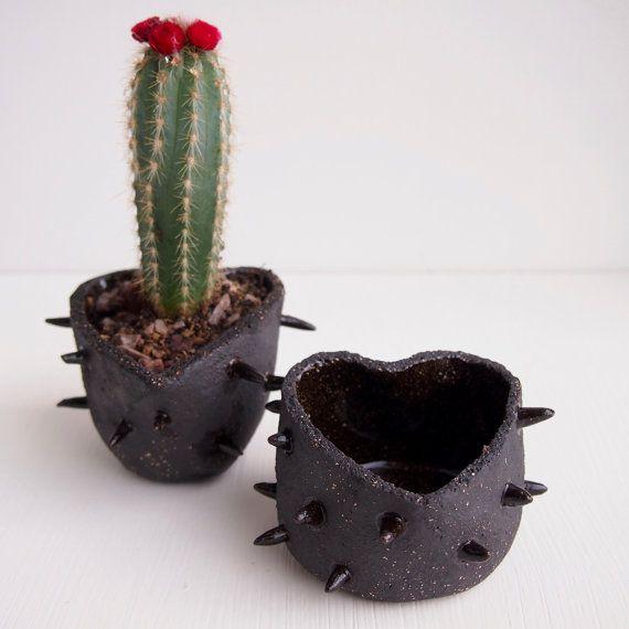 Handmade Small black ceramic spiky  heart planter,pottery vase, ceramic planter, unique gift, spiky ceramic, ceramics and pottery,plant pot