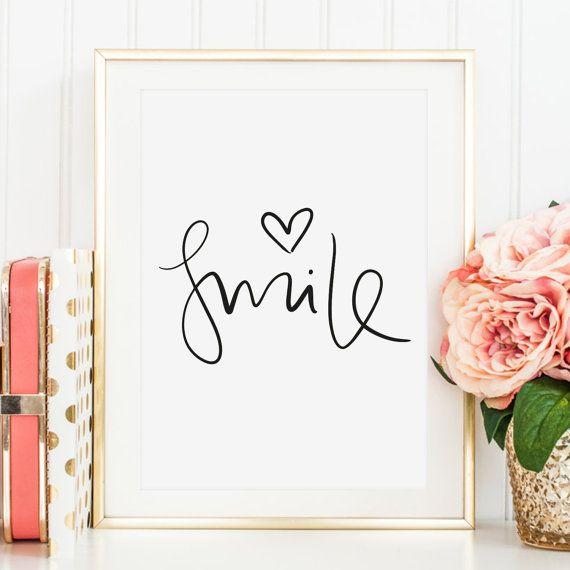 Poster, Print, Wallart, Fine Art-Print, Zitate, Sprüche, Kunstdrucke: Smile