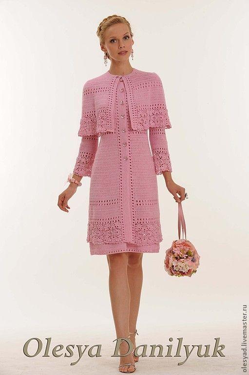 """Купить Комплект """"Розовое облако"""" - розовый костюм, розовый комплект, вязаный крючком костюм"""