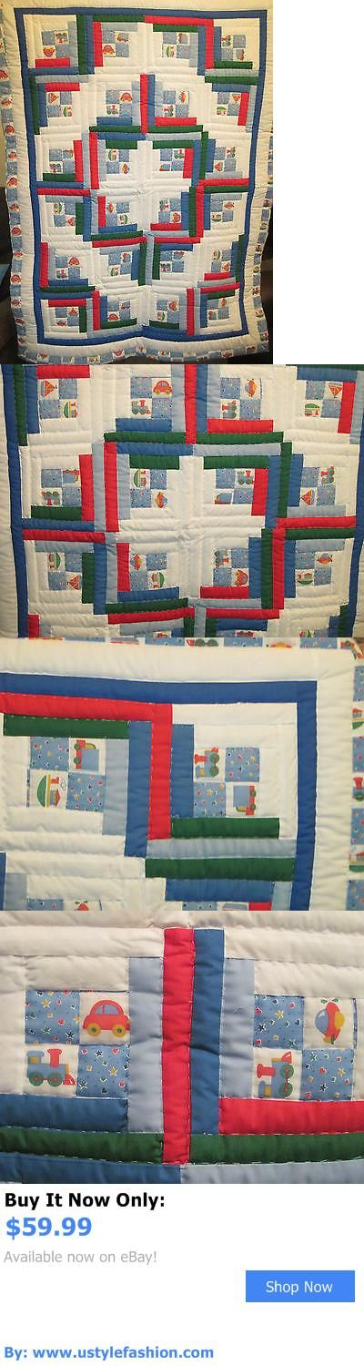 Quilts And Coverlets: Blue/Cars,Boats,Trucks, Trains Handmade Patchwork Log Cabin Baby Quilt 38X52 BUY IT NOW ONLY: $59.99 #ustylefashionQuiltsAndCoverlets OR #ustylefashion
