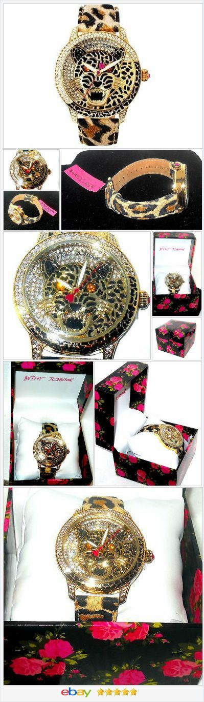 Betsey Johnson Crystal Leopard printed leather Strap WATCH USA SELLER #ebay http://stores.ebay.com/JEWELRY-AND-GIFTS-BY-ALICE-AND-ANN