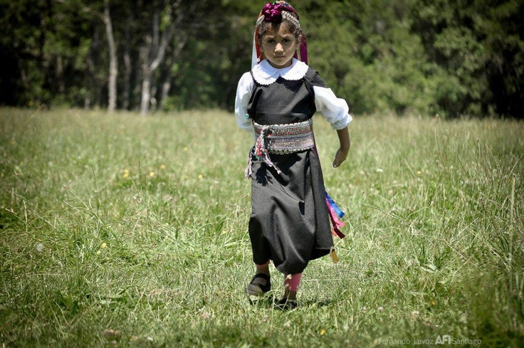 A young girl traditional Mapuche dress, Araucania, south of Chile.