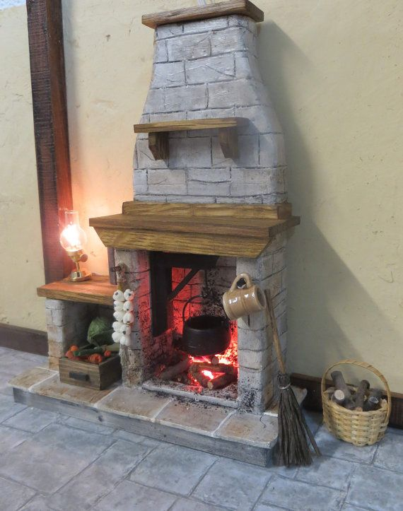 Dollhouse Medieval Stone Glowing light up Fireplace - Historic , Cottage, Tudor, Medieval