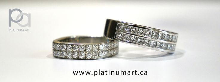 These two beautiful pave rings display the detail to which we work, and the care we take. Ask us about a ring today. 1+844-787-7348 www.platinumart.ca/contact-us