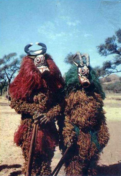 Africa   Bobo masqueraders. Upper Volta (Burkina Faso)/  Post stamped 1966    Scanned postcard; publisher Roland Marie, Cliché HOA QUI - Numéro: 13