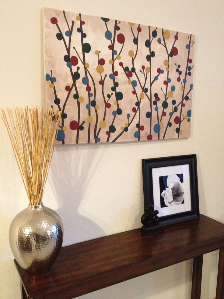 DIY Simple canvas painting of branches and blooms