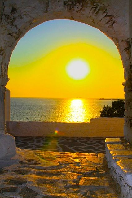 perfect for meditation: Buckets Lists, Greece Unemployment, The Ocean, The View, Beautiful, Arches, Islands, Places, Sunri Sunsets