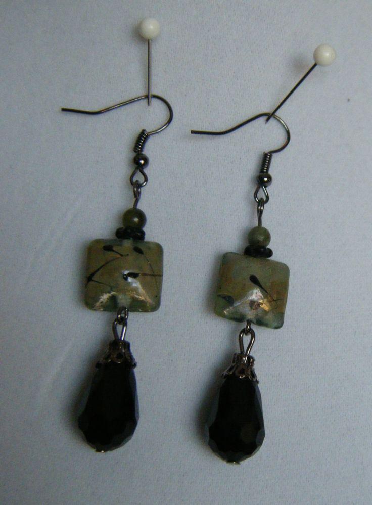 square moss green, black flecks, black glass droplet