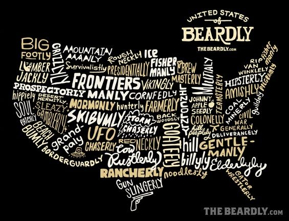 The United States of Beardly, one of many wonderful t-shirts by The Beardly.