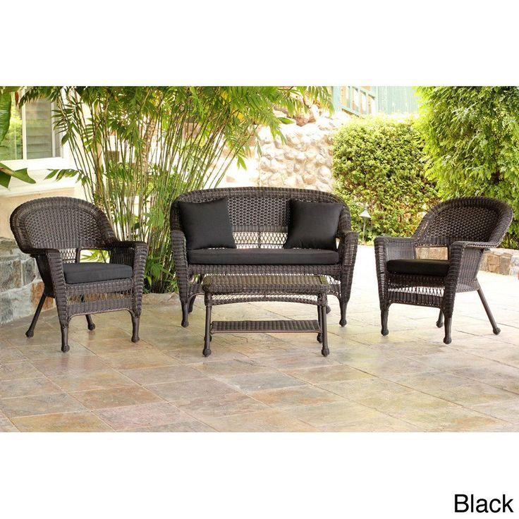 Jeco Espresso Wicker 4 Piece Patio Conversation Set (Orange Cushions),  Black, Size 4 Piece Sets, Patio Furniture (Steel)