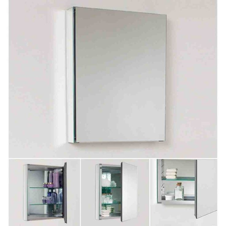 Fresca Single Door Frameless Medicine Cabinet With Two Glass Shelves Mirror Bathroom Storage Cabinets