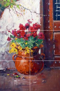Restaurant Decor Tile Mural Backsplash Painting Southwestern Floral Flower Pot…