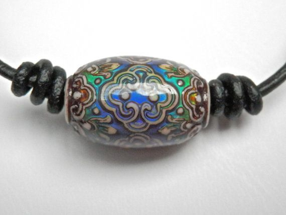 Black Leather adjustable necklace Mirage bead mood by Berjique, $18.00