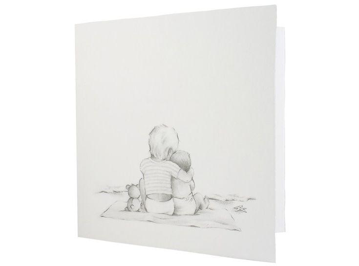 97.339 Broertje/ zusje, baby, kindje, oud-hollands - Family Cards - De allerliefste geboortekaartjes