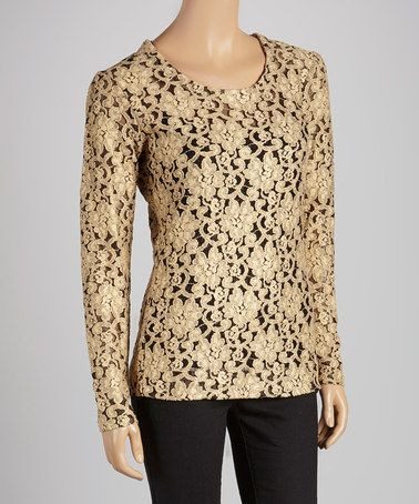 Take a look at this Gold Lace Aubrey Top by OXMO on #zulily today! $59 !!