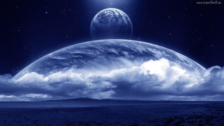 Kosmos, Niebieska, Planeta, Fantasy