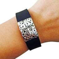 Charm to Accessorize the Fitbit Flex, Fitbit Charge, Charge HR, Garmin Vivofit, Vivosmart, Vivosmart HR, Jawbone Up, or Fitbit Alta - The CROSS Hammered Silver Charm to Dress Up Your Favorite Fitness Tracker by Funktional Wearables.