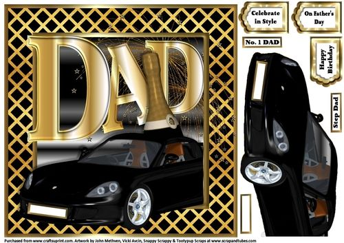 Special Celebration Sports Car - DAD by Kim Blundred This sheet has a topper designed for use with an 8x8 card blank. 1 decoupage layer is included on the sheet along with a few reg-plate relations and 1 text panel.The design is a sleek sports car behind which sits the word DAD in large letters a bottle of champagne and fireworks. A great fun quick card to make for those special occasions.