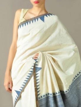 Ecru-Glaucous Tussar & Organic Khadi-Cotton Kumbha Saree | www.jaypore.com