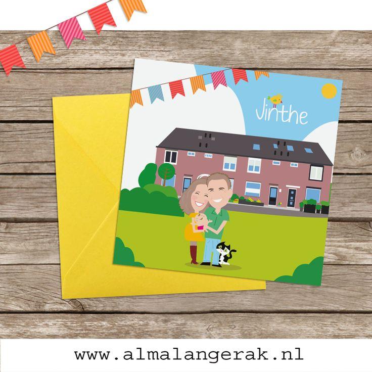 Hoera daar is Jinthe, het dochtertje van Joost en Renske. Op deze kaarten staat het huis, de kat en natuurlijk het gezin nagetekend.  Aan de binnenkant van de kaartjes zitten de kat en Jinthe in de weegschaal om het gewicht aan te geven en staat papa met een meetlint in zijn handen voor de lengte.  Joost en Renske, als jullie dit lezen, heel veel geluk met jullie gezinnetje!  #geboortekaartjes #huis #huisdier #kat #vlaggetjes #cartoon #portret #nagetekend