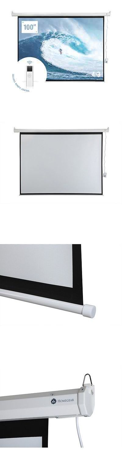 "Projection Screens and Material: Homegear 100"" 4:3 Hd Electric Motorized Projector Screen + Remote -> BUY IT NOW ONLY: $66.99 on eBay!"