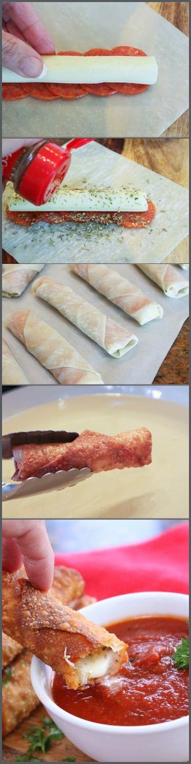 Happy Hour Pizza Rolls - Super easy pepperoni pizza rolls made from egg roll wrappers and served with warm pizza sauce.