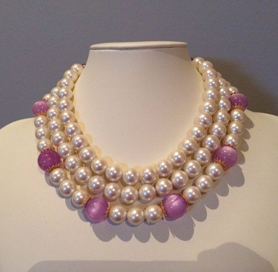 Violet Reclaimed Multi Strand Pearl Necklace