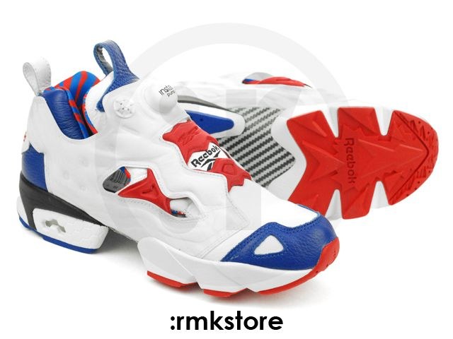 reebok pump white blue