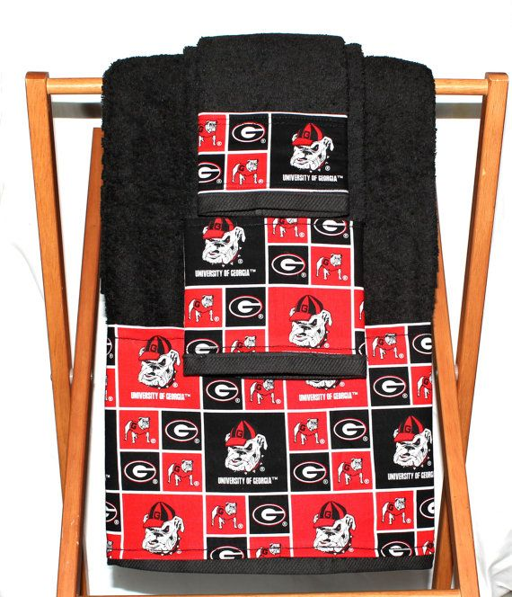Bathroom Decor Three Piece Set Bath Towel Hand Towel And Wash Cloth  Decorative Georgia Bulldogs Uga