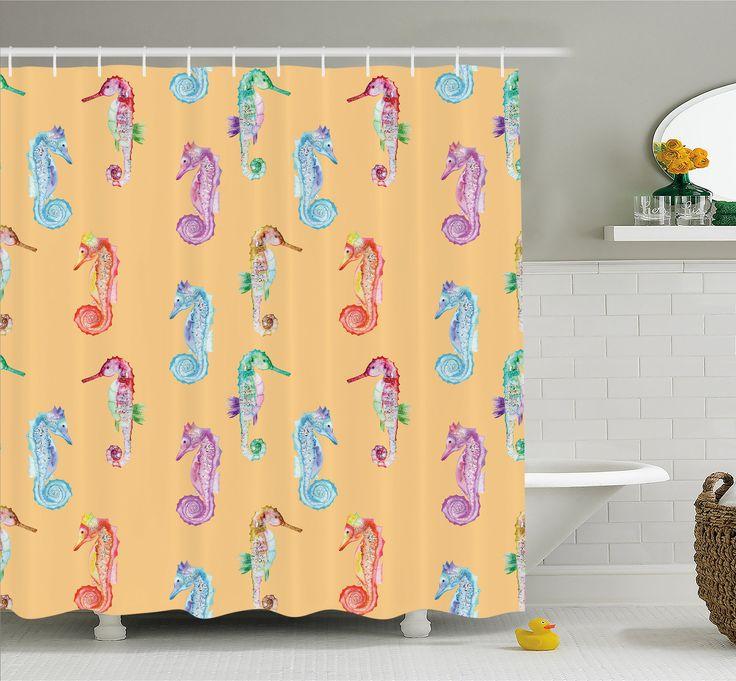 Animal Pop Art Peach Effect Display of Hippocampus in Vivid Ocean Depth Image Shower Curtain Set