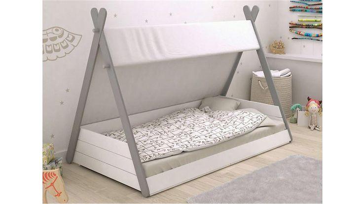 Kinderbett TIPI Spielbett in Perle weiß und grau 90x200 cm
