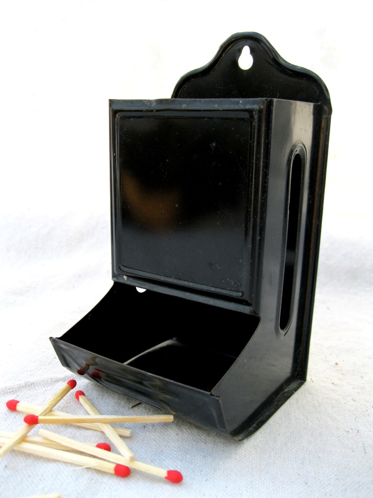 Vintage Matchbox Holder Black Metal Oven Fireplace Kitchen From Tessiemay