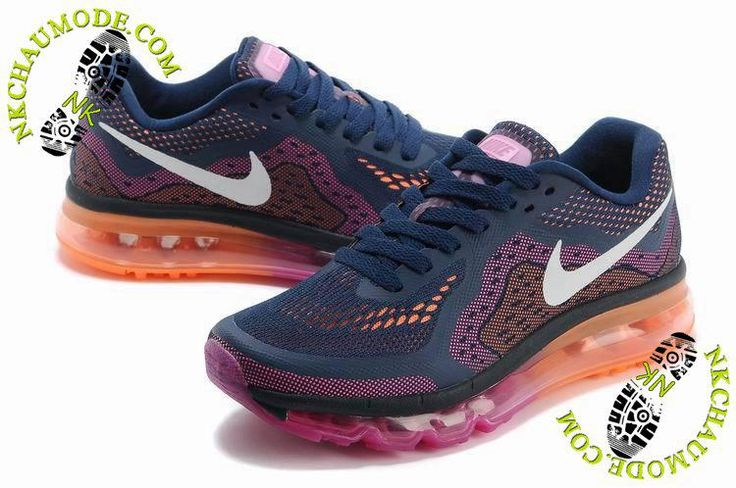 chaussures nike running soldes Air Max 2014 Femme Pourpre/Rose/Orange