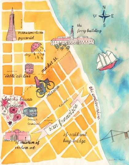 Beautiful watercolor map