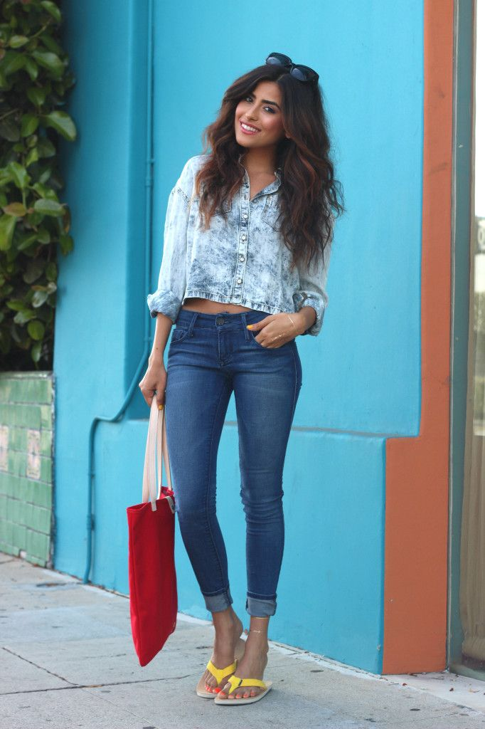 sazan » casual outfit ideas, denim on denim, 2014 trends  style, cute yellow flip flops for summer.