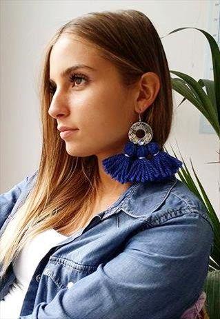 MINT - YANA EARRINGS WITH THREE WOOL TASSELS+blu +blue +orecchini+lana+nappe+boho+statement
