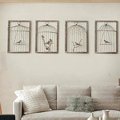 excellent wall decor vintage old effect wrought iron cage country wall hanging with becquet. Black Bedroom Furniture Sets. Home Design Ideas
