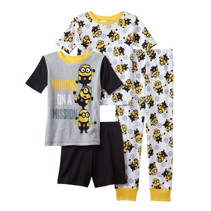 Boys 4-12 Despicable Me 3 Minion Mission 4-Piece Pajama Set, Size: 12, Multicolor